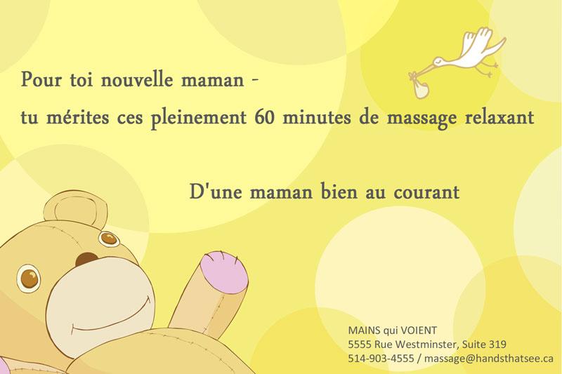 Pour la nouvelle maman mérite- elle a vraiment besoin d'un massage relaxant.